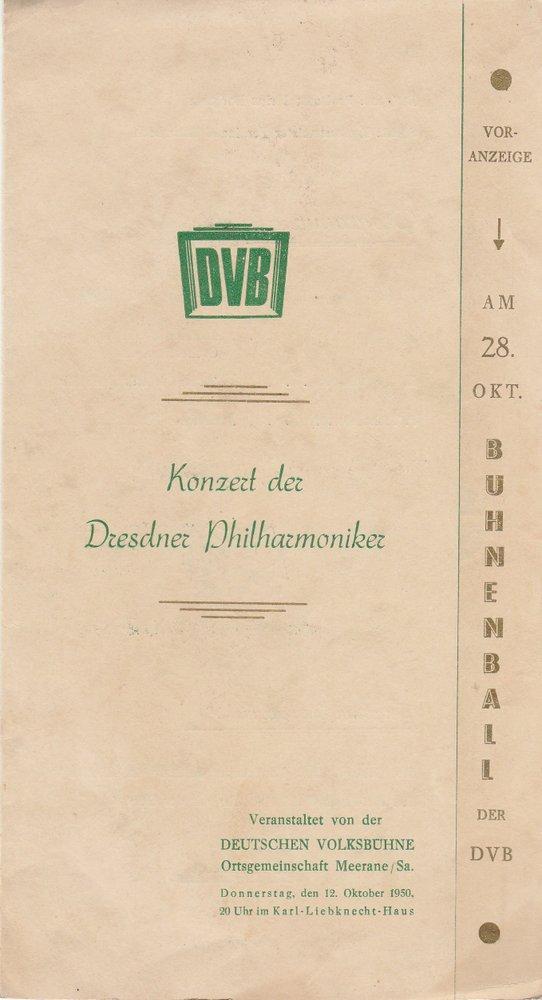 Programmheft KONZERT DER DRESDNER PHILHARMONIKER Karl-Liebknecht-Haus 1950