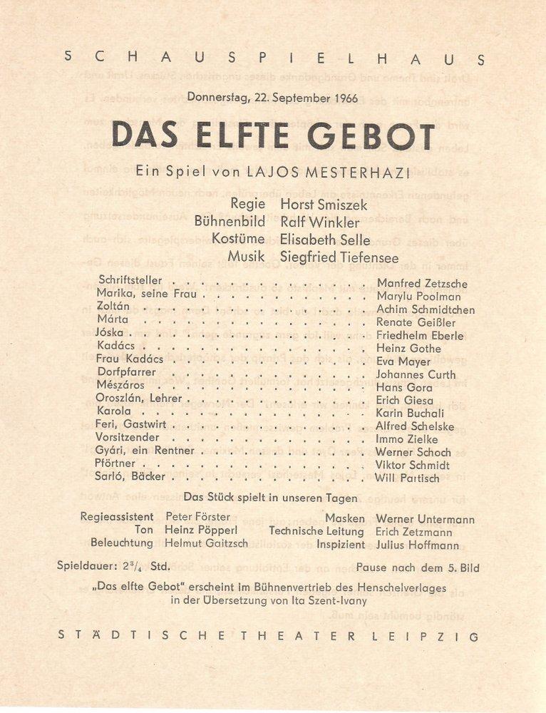 Theaterzettel Lajos Mesterhazi DAS ELFTE GEBOT Städtische Theater Leipzig 1966