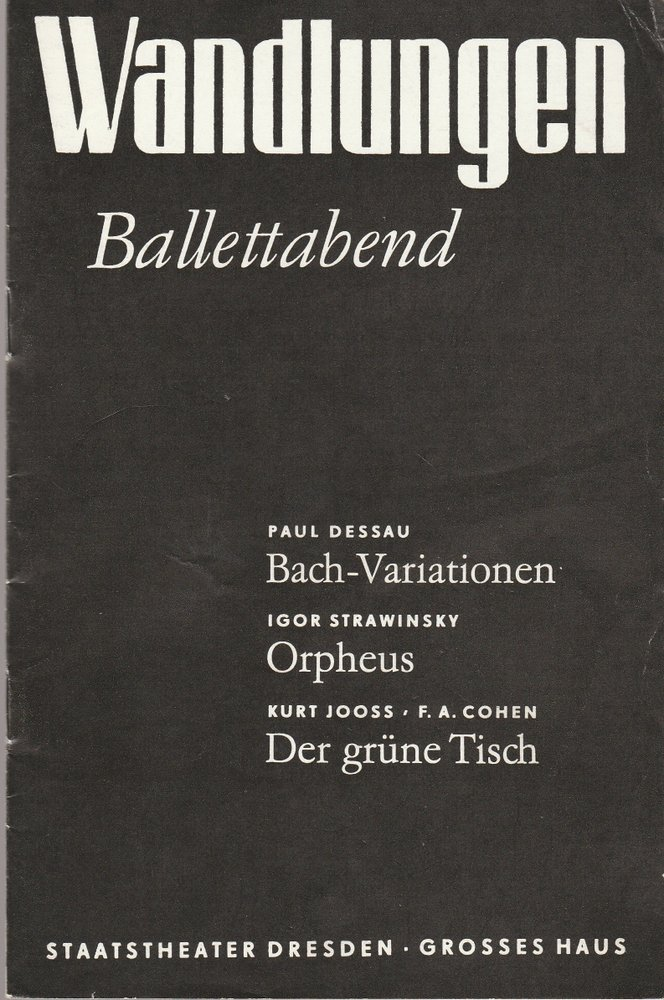 Programmheft WANDLUNGEN Staatsoper Dresden 1982