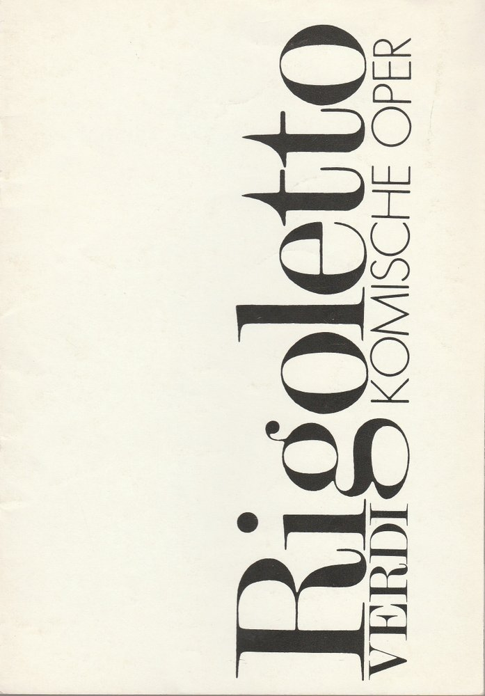 Programmheft Giuseppe Verdi RIGOLETTO Komische Oper 1983