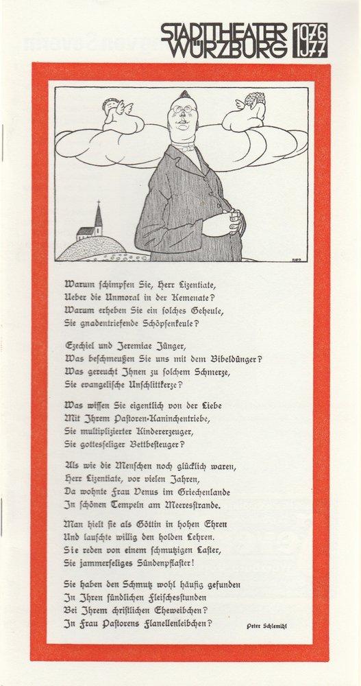 Programmheft Ludwig Thoma MORAL Stadttheater Würzburg 1977