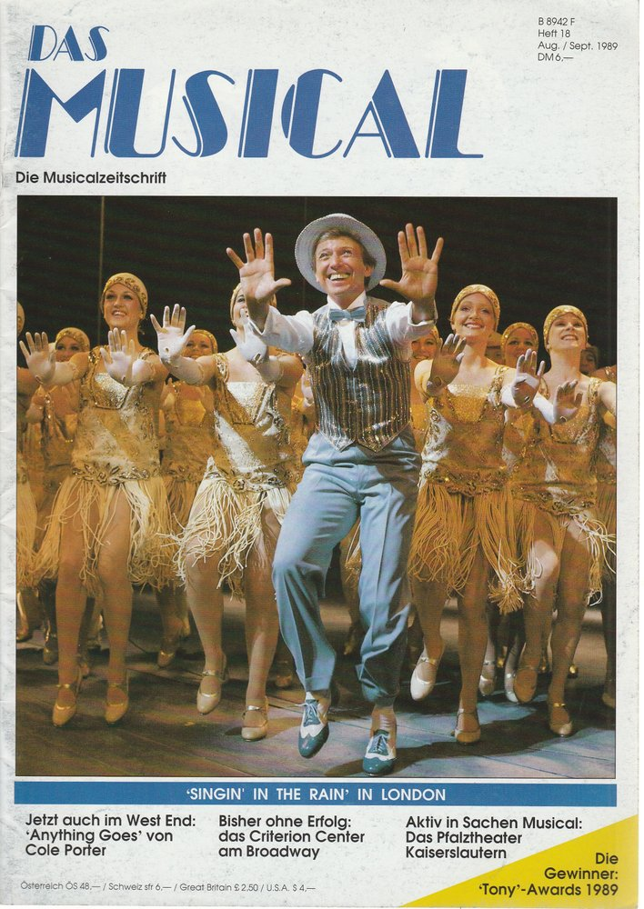 Das Musical. Die Musicalzeitschrift Heft 18 August / September 1989