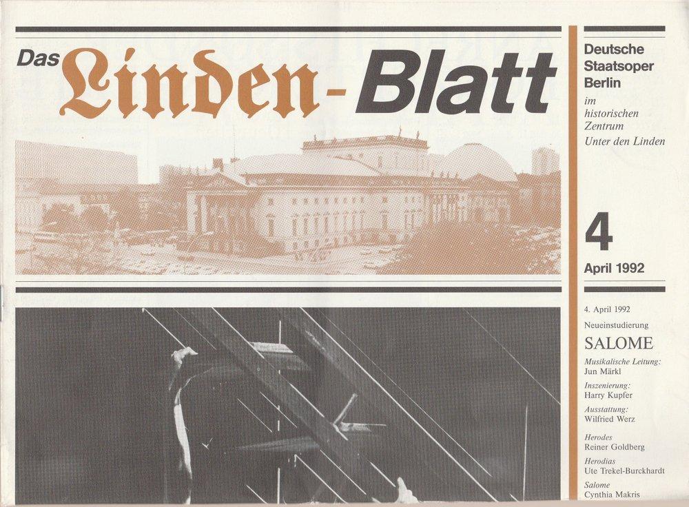 Deutsche Staatsoper Berlin DAS LINDEN-BLATT 4 April 1992
