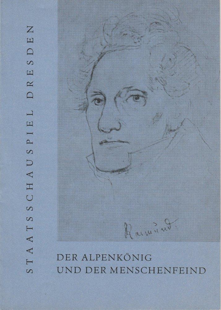 Programmheft Ferdinand Raimund: Der Alpenkönig Staatsschauspiel Dresden 1961