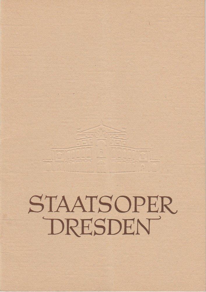 Programmheft Georges Bizet: CARMEN Staatsoper Dresden 1959
