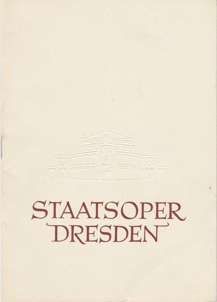 Programmheft Richard Strauss: ARIADNE AUF NAXOS Staatsoper Dresden 1959