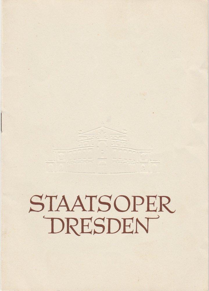 Programmheft Wolfgang Amadeus Mozart: COSI FAN TUTTE Staatsoper Dresden 1958