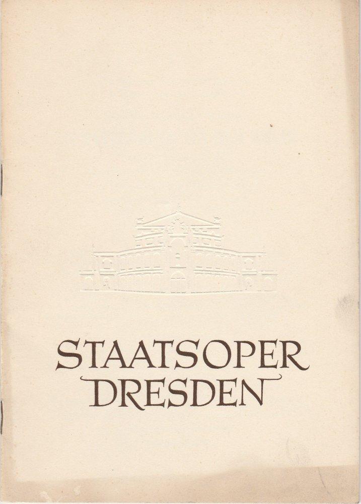 Programmheft Mozart: Die Entführung aus dem Serail Staatsoper Dresden 1956