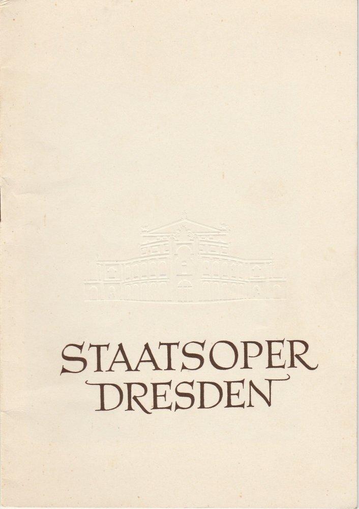 Programmheft Wolfgang Amadeus Mozart: LUCIUS SULLA Staatsoper Dresden 1955
