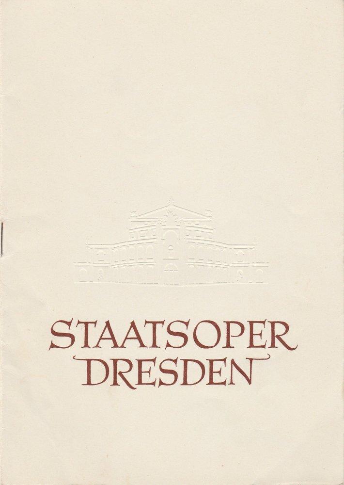 Programmheft Bedrich Smetana: Die verkaufte Braut Staatsoper Dresden 1957