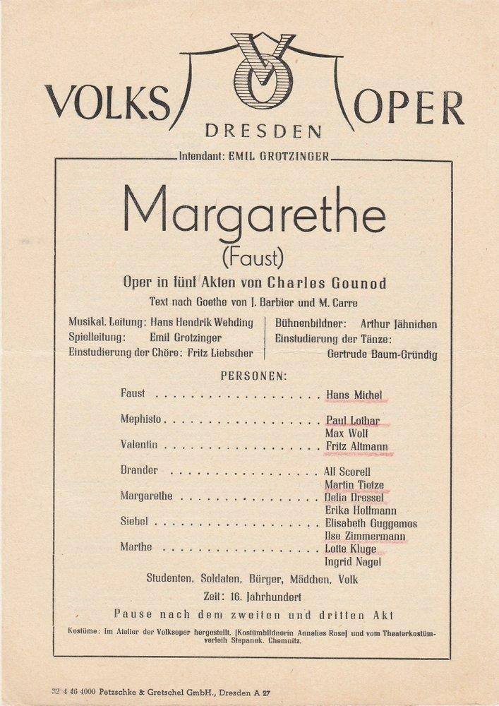 Programmheft Margarethe / Faust Oper von Charles Gounod Volksoper Dresden 1946