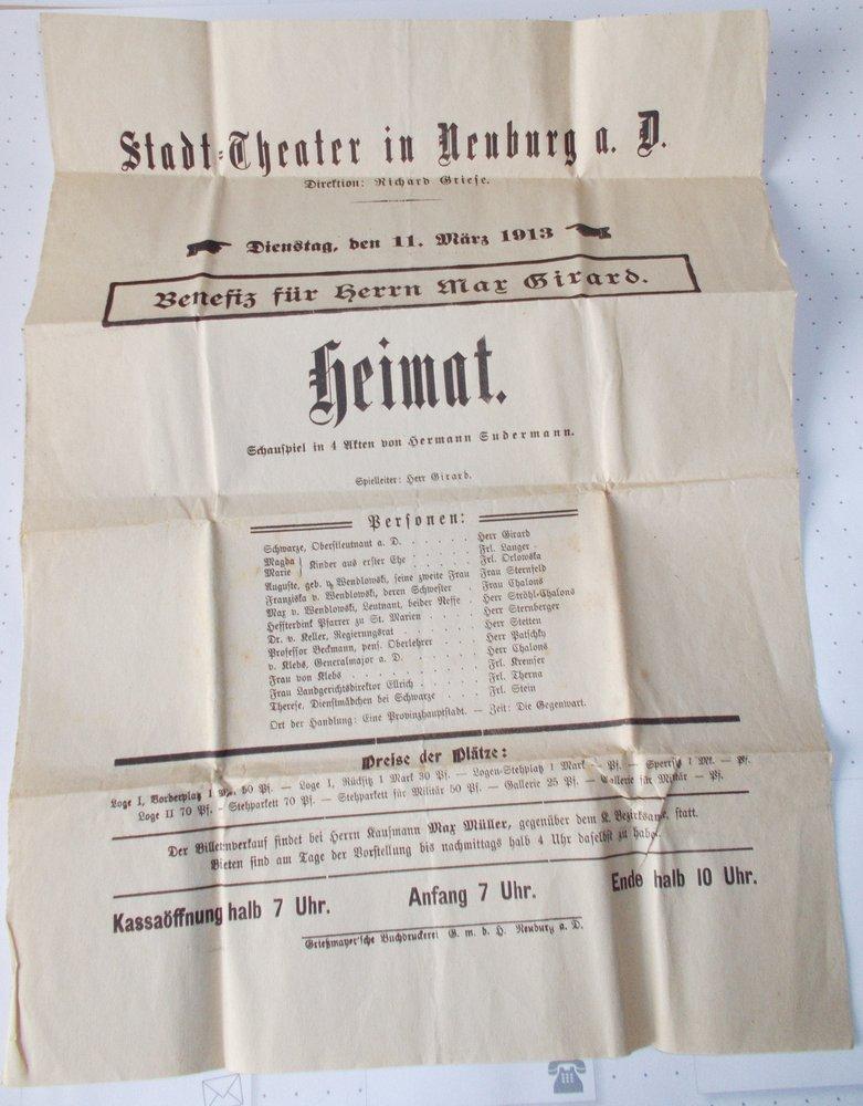 Theateraushang HEIMAT Stadt=Theater Neuburg a. Donau 1913