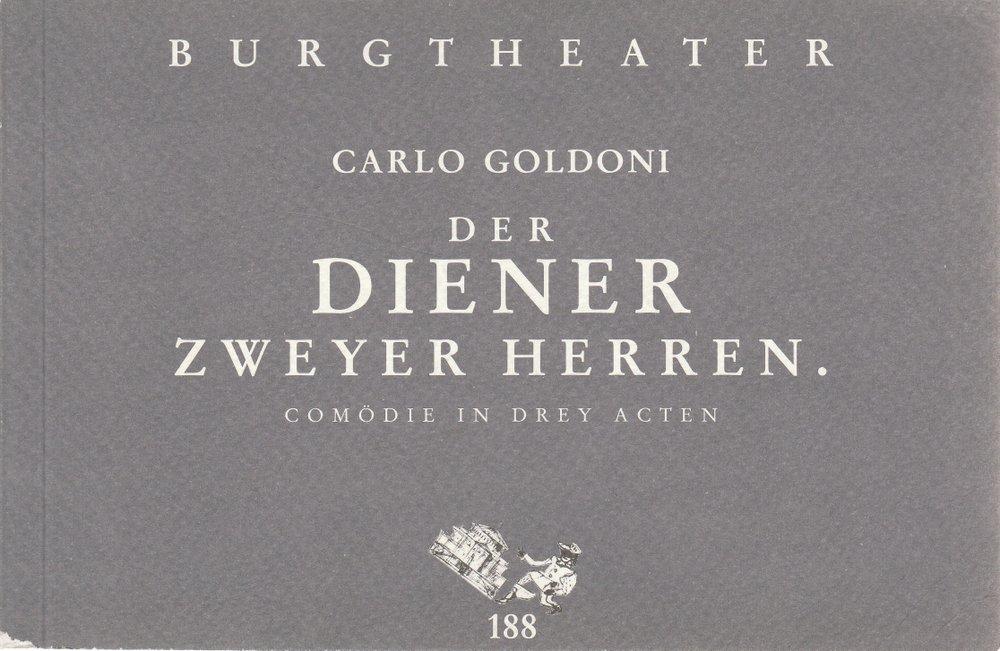 Programmheft Carlo Goldoni DER DIENER ZWEYER HERREN Burgtheater Wien 1997