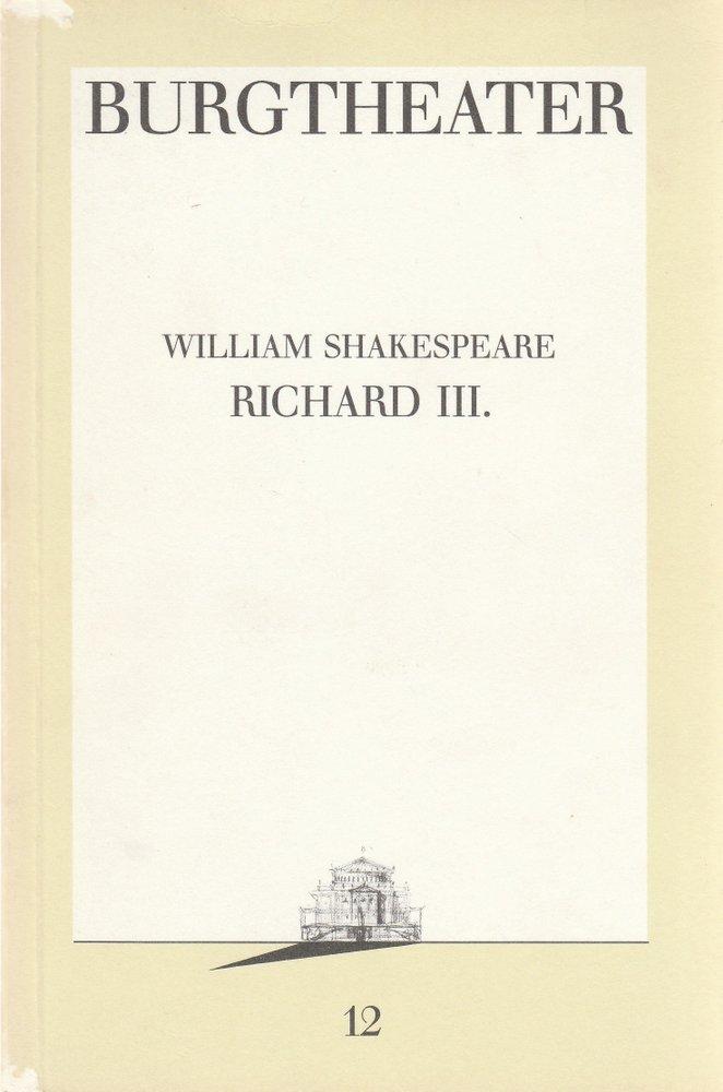 Programmheft William Shakespeare RICHARD III. Burgtheater Wien 1987