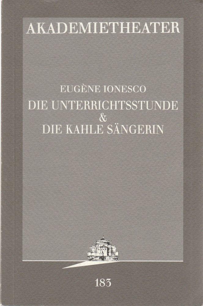 Programmheft Eugene Ionesco DIE UNTERRICHTSSTUNDE / DIE KAHLE SÄNGERIN Wien 1997