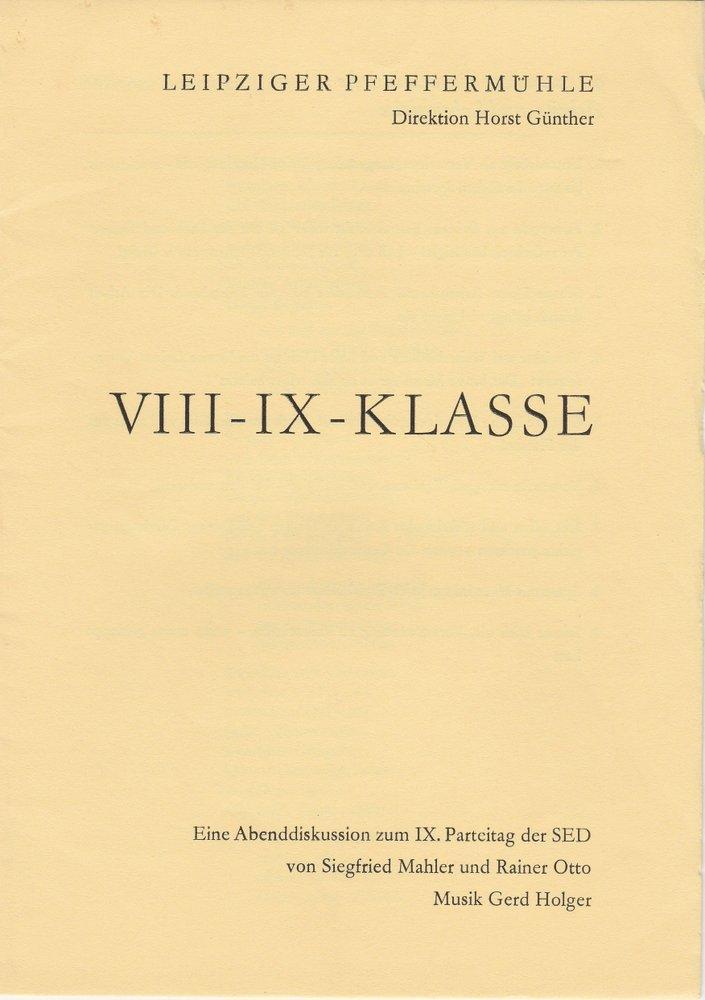 Programmheft VIII-IX-KLASSE Leipziger Pfeffermühle 1976