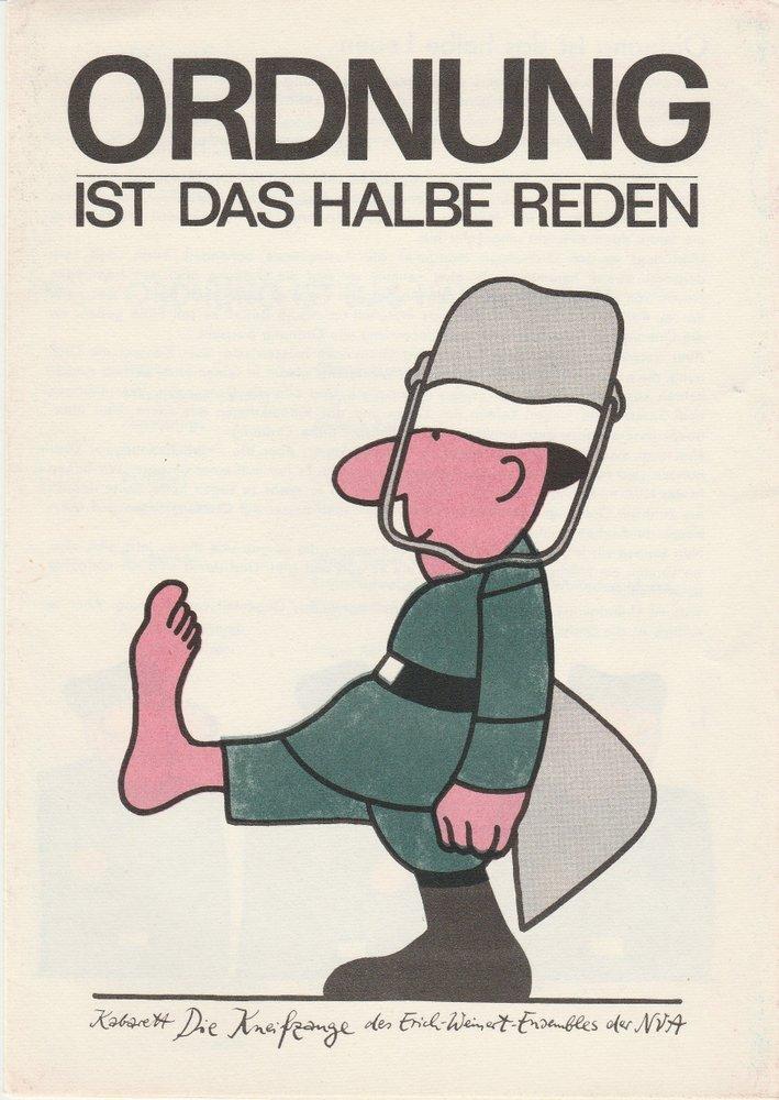 Programmheft Ordnung ist das halbe Reden Kabarett Die Kneifzange 1978