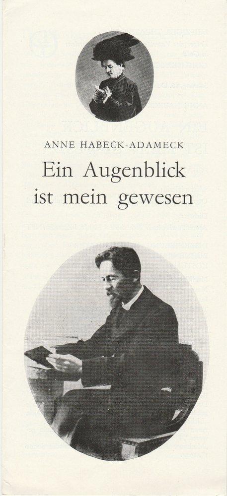 Programmheft Anne Habeck-Adameck: EIN AUGENBLICK IST MEIN GEWESEN Leipzig 1979