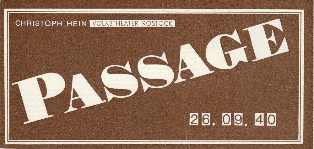 Programmheft Christoph Hein: PASSAGE Volkstheater Rostock 1989