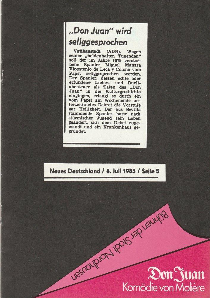 Programmheft Moliere: DON JUAN Bühnen der Stadt Nordhausen 1987