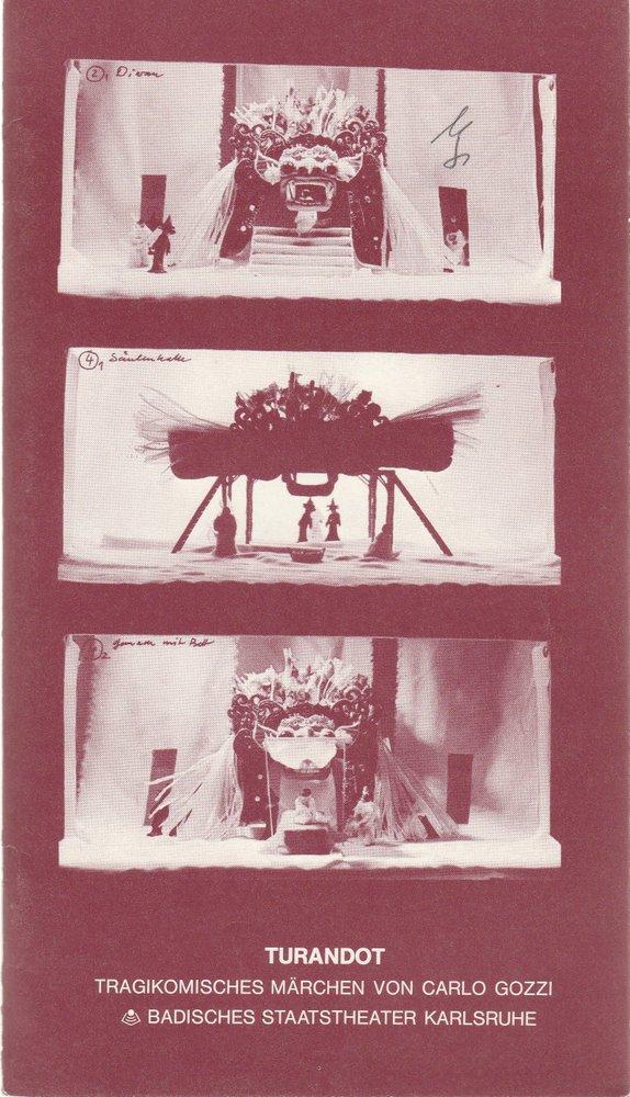 Programmheft Carlo Gozzi: TURANDOT Badisches Staatstheater Karlsruhe 1979