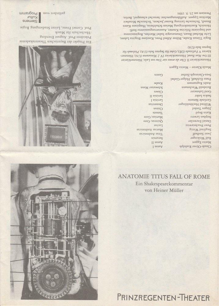 Programmheft ANATOMIE TITUS FALL OF ROME Heiner Müller Prinzregententheater 1994