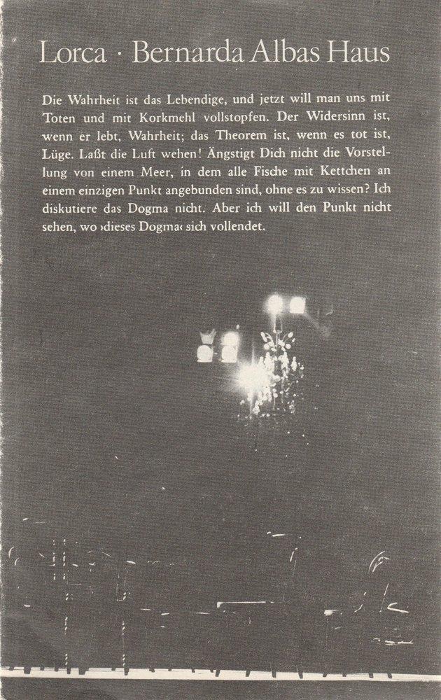 Programmheft BERNARDA ALBAS HAUS Deutsches Theater Berlin DDR 1980