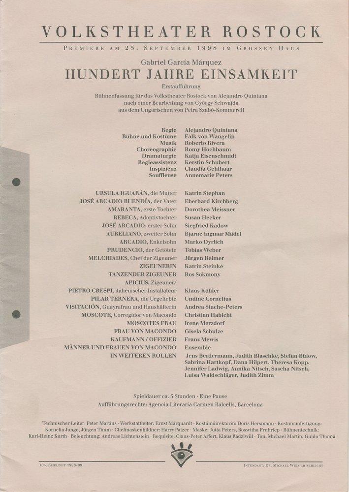Programmheft Gabriel Garcia Marquez HUNDERT JAHRE EINSAMKEIT Rostock 1998