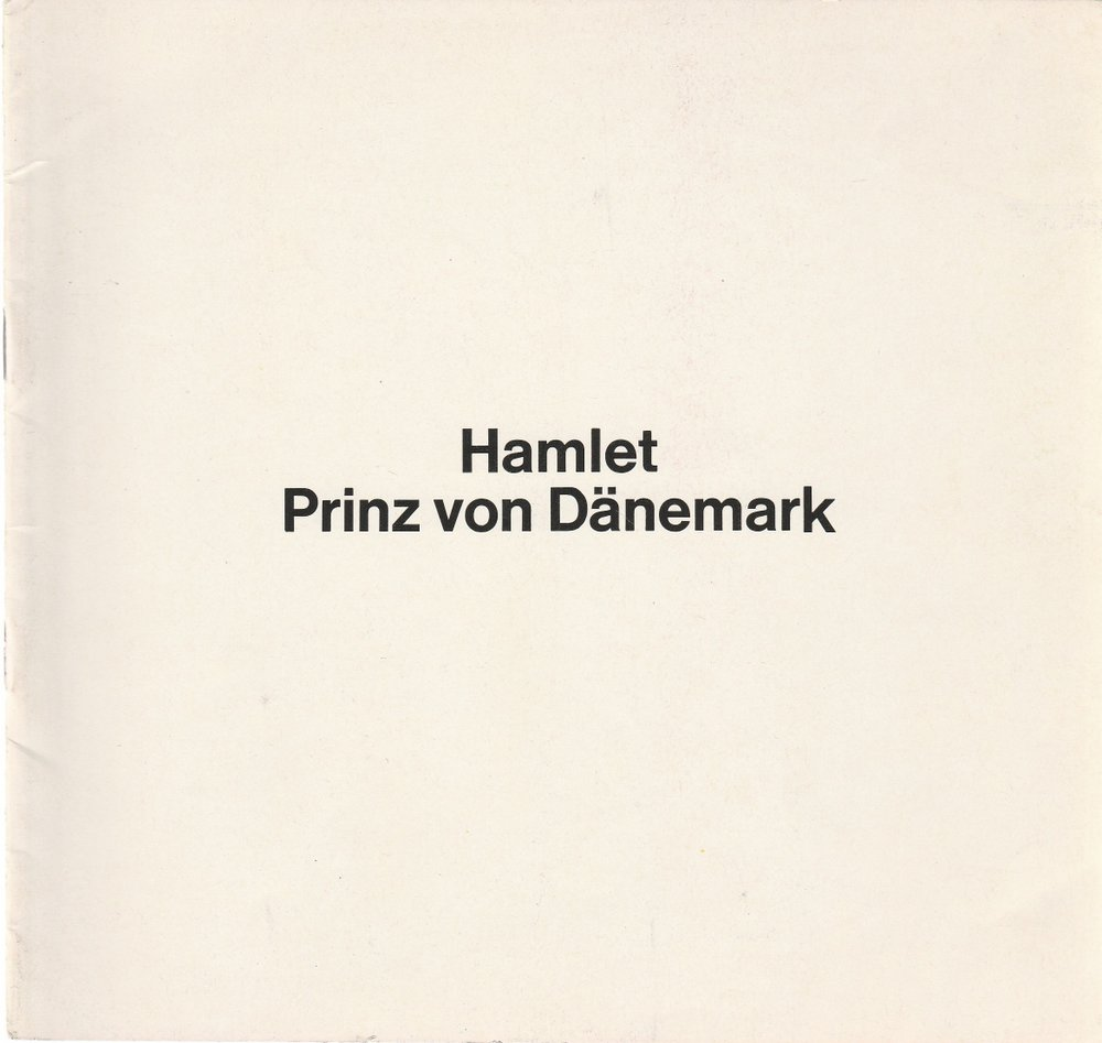 Programmheft William Shakespeare HAMLET PRINZ VON DÄNEMARK Thalia Theater 1978
