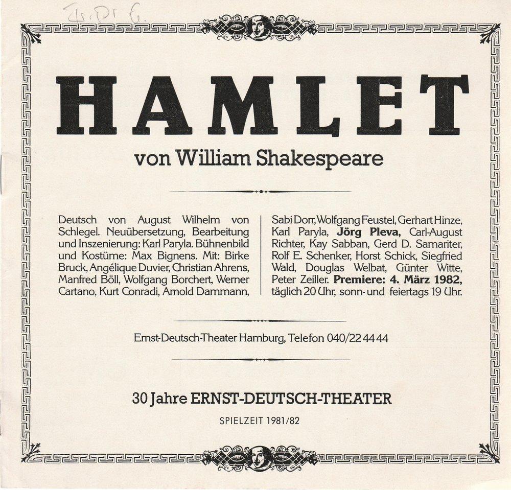 Programmheft HAMLET Tragödie von William Shakespeare Ernst-Deutsch-Theater 1982