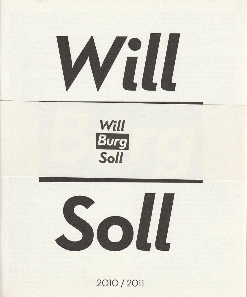 Will Burg Soll 2010 / 2011 Spielzeitheft Burgtheater Wien