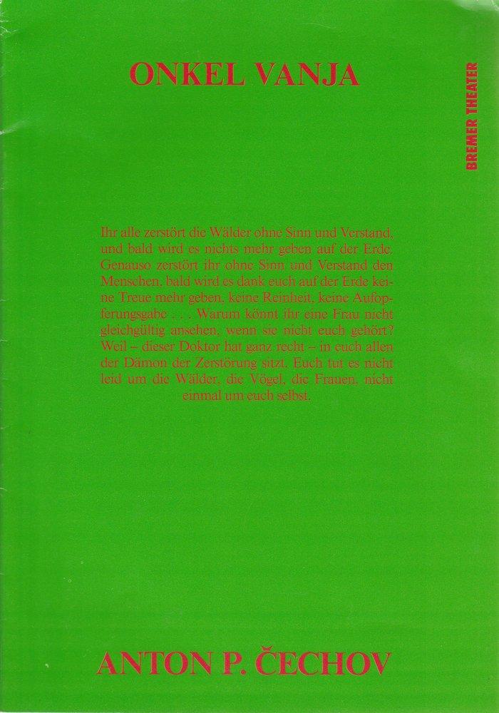 Programmheft Anton Cechov ONKEL WANJA Bremer Theater 1992 Tschechow