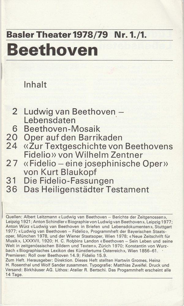 Programmheft BEETHOVEN Uraufführung ROLL OVER BEETHOVEN Basel 1978