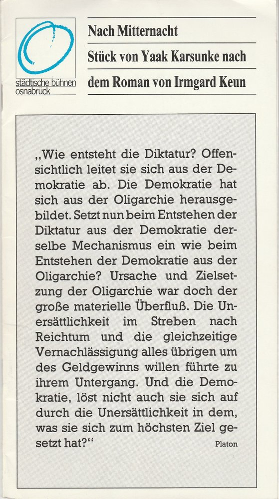 Programmheft Uraufführung Yaak Karsunke NACH MITTERNACHT Bühnen Osnabrück 1982