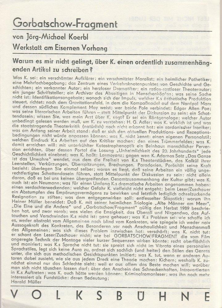 Programmheft Uraufführung Jörg-M. Koerbl GORBATSCHOW / FRAGMENT Volksbühne 1990