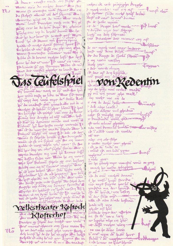 Programmheft Urauff. C. Hammel DAS TEUFELSSPIEL VON REDENTIN Thea. Rostock 1987