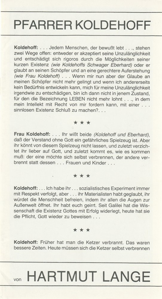Programmheft Hartmut Lange PFARRER KOLDEHOFF Stadttheater Bremerhaven 1979