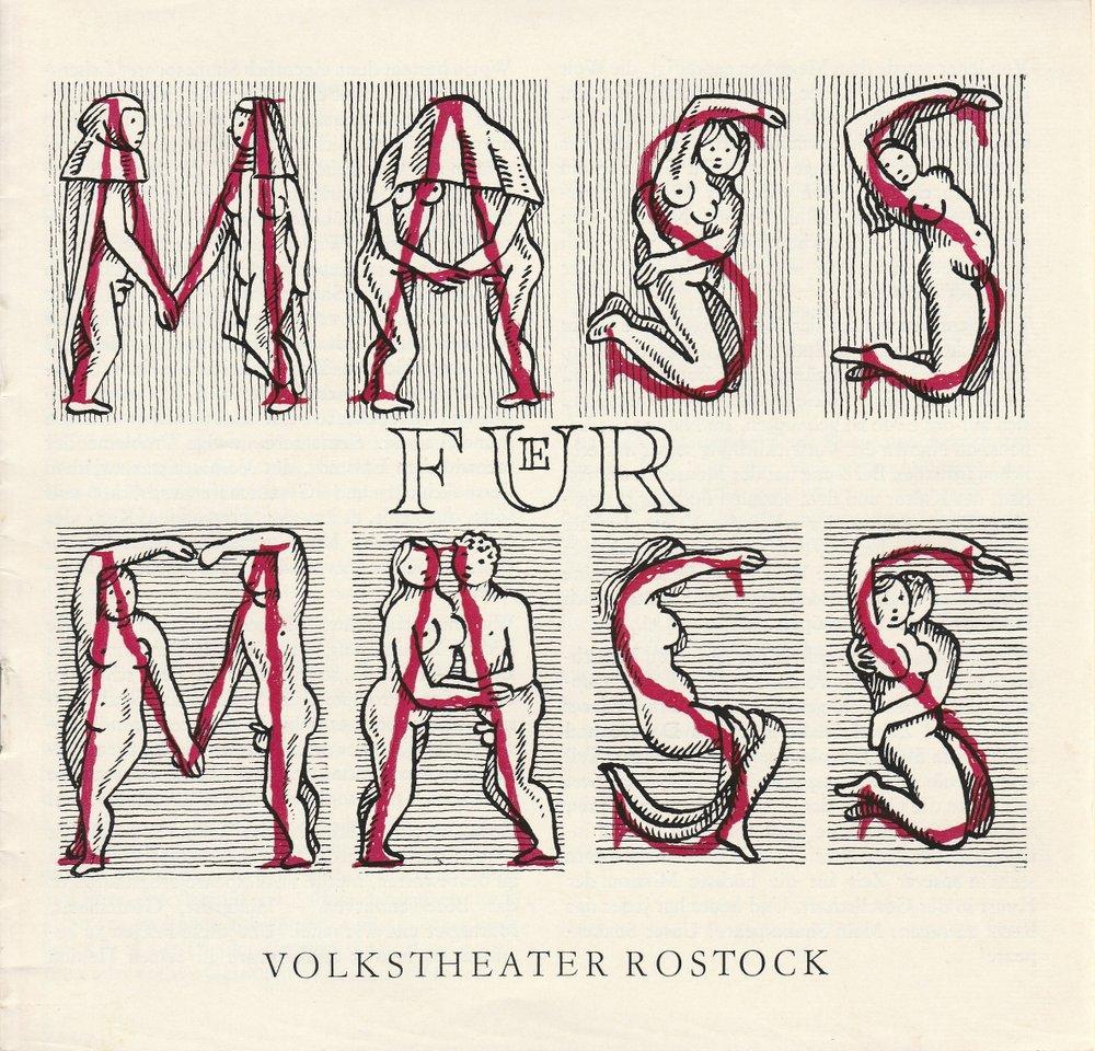 Programmheft William Shakespeare MAß FÜR MAß Volkstheater Rostock 1987