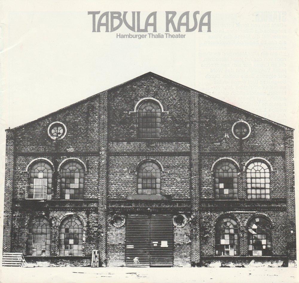 Programmheft Carl Sternheim TABULA RASA Thalia Theater 1974