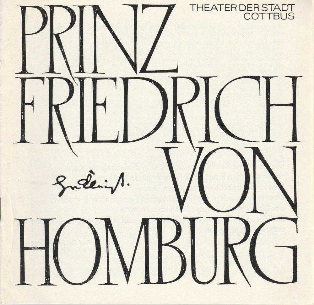 Programmheft Heinrich v. Kleist PRINZ FRIEDRICH V. HOMBURG Theater Cottbus 1975