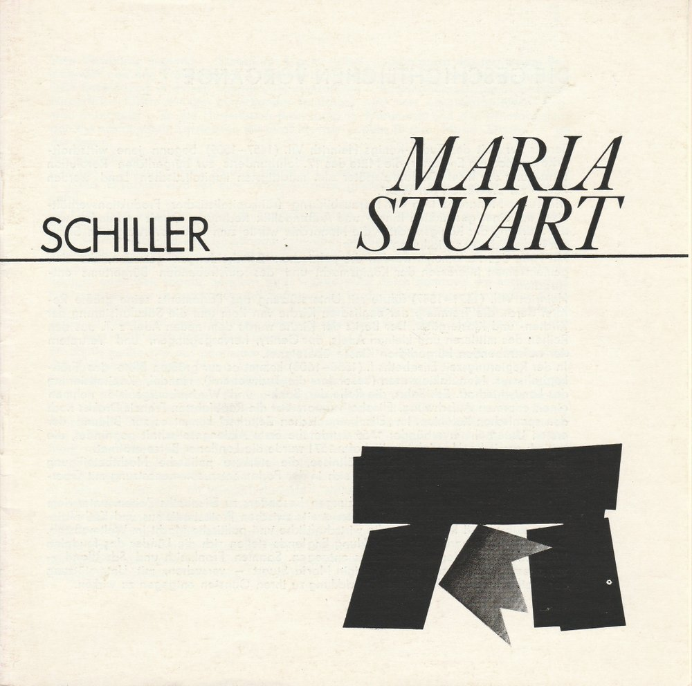 Programmheft Friedrich Schiller MARIA STUART Theater Cottbus 1977