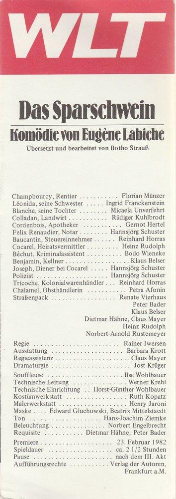 Programmheft Eugene Labiche DAS SPARSCHWEIN Westfälisches Landestheater 1982