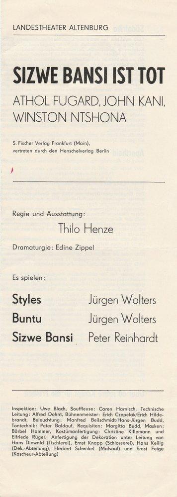 Programmheft Athol Fugard  SIZWE BANSI IST TOT Landestheater Altenburg 1979