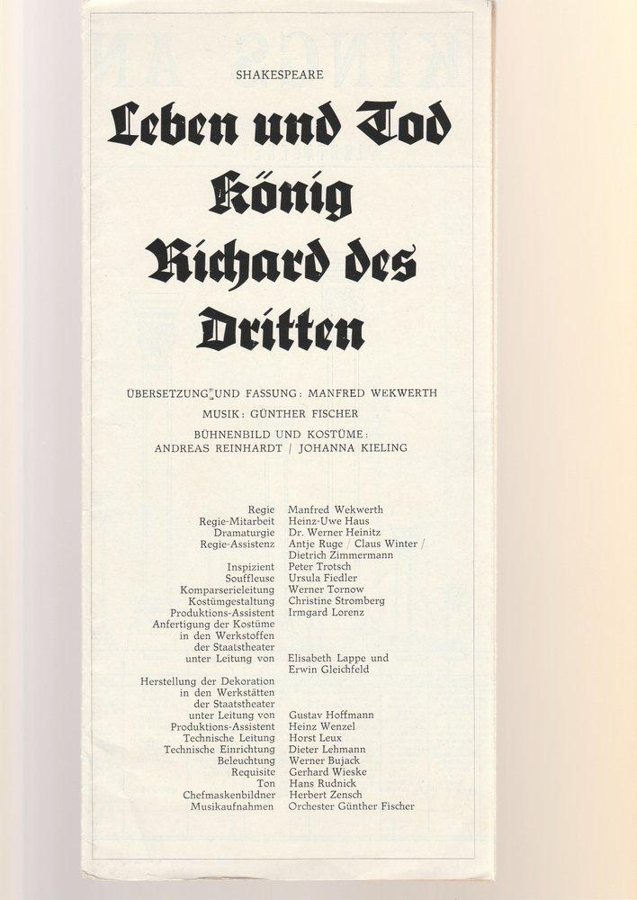 Programmheft Shakespeare LEBEN U. TOD KÖNIG RICHARD D. DRITTEN Deutsch.Th. 1972