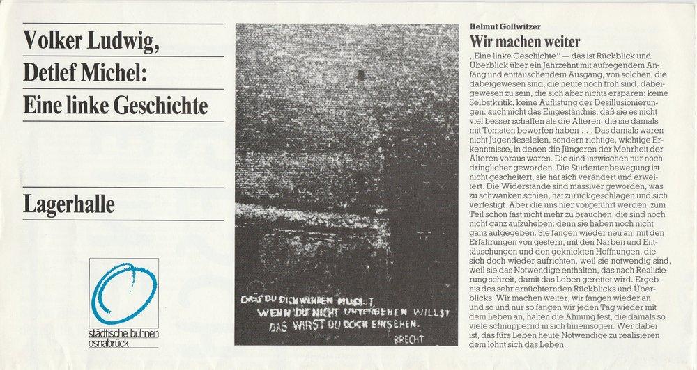 Programmheft V. Ludwig / D. Michel EINE LINKE GESCHICHTE Bühnen Osnabrück 1982