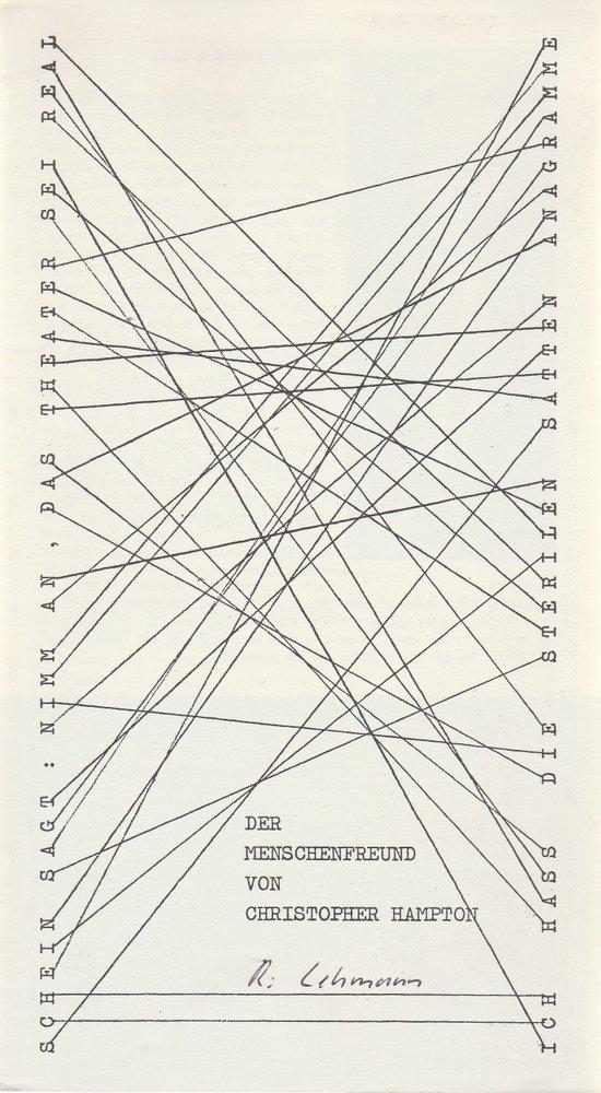Programmheft Christopher Hampton DER MENSCHENFREUND  Bühnen Augsburg 1977