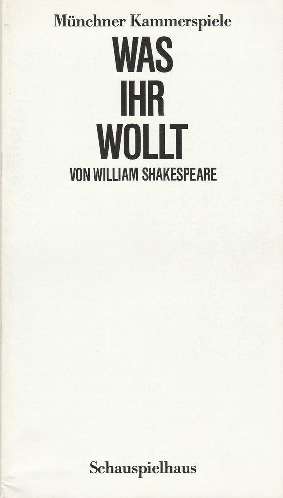 Programmheft William Shakespeare WAS IHR WOLLT Münchner Kammerspiele 1987