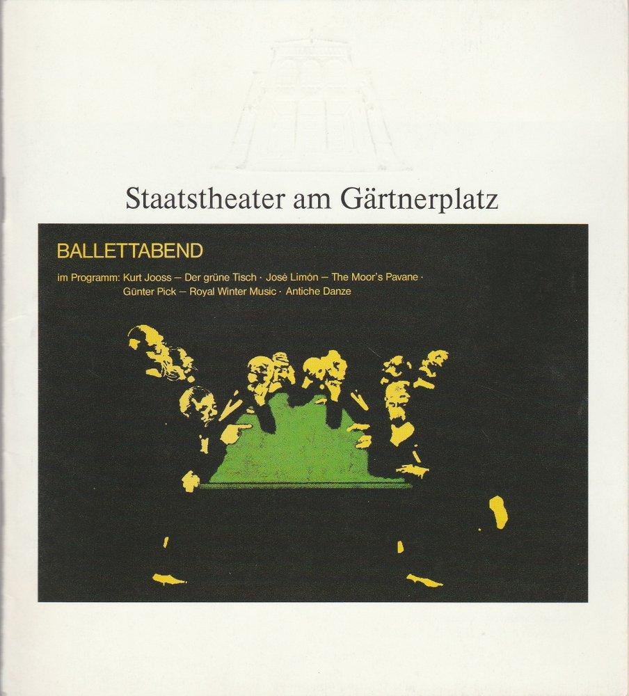Programmheft BALLETTABEND Staatstheater am Gärtnerplatz 1989