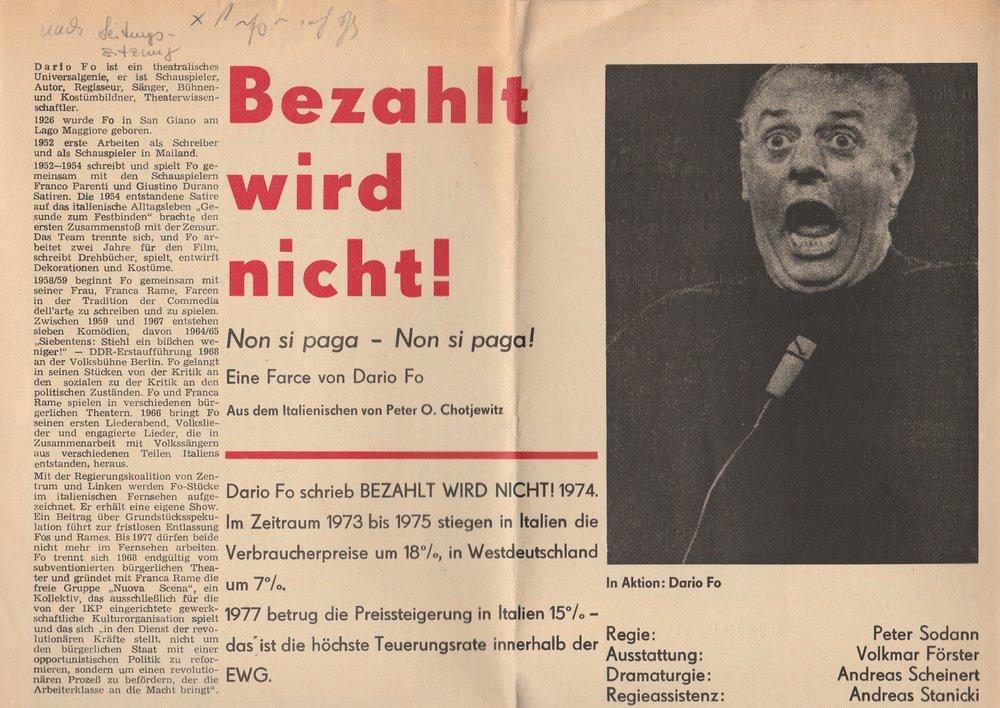 Programmheft Dario Fo BEZAHLT WIRD NICHT Bühnen Magdeburg 1979