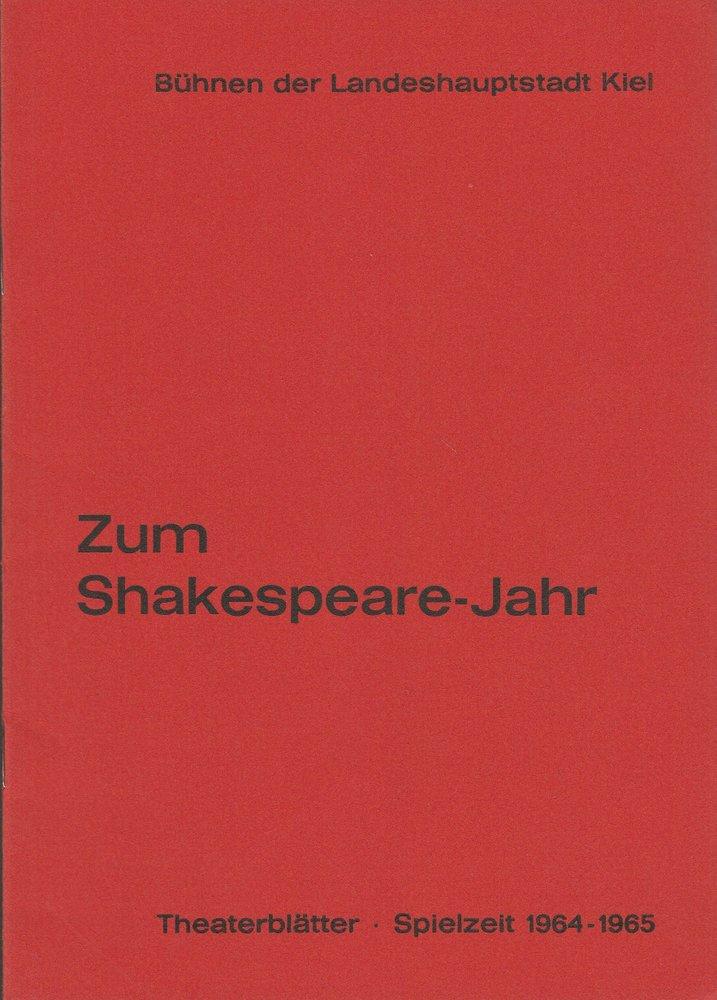 Programmheft William Shakespeare VIEL LÄRM UM NICHTS Bühnen Kiel 1965